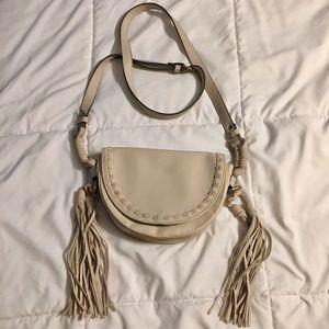 Cream/Tan Crossbody Bag with Fringe