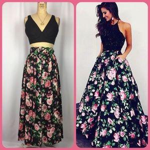 Vintage black pink Rose Print festival maxi skirt