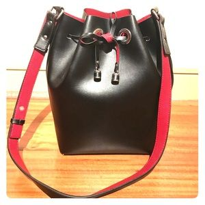 Zara black bucket bag with red interior