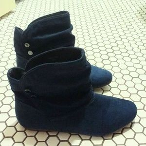 Deep teal leather ankle boots