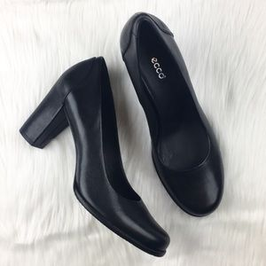 Ecco Black Block Heels