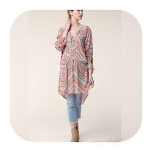 Tops - 🌟HP🌟 Printed Crochet trimmed Hi-lo Tunic