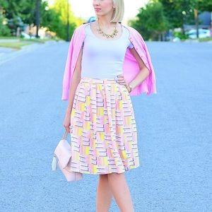 JCrew Gorgeous Pink Printed Circle Skirt Sz 12