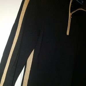 Sweaters - Women Petite Small Gold and Black Sweater