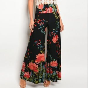Palazzo Floral Wide Pants Woman's Fall Medium