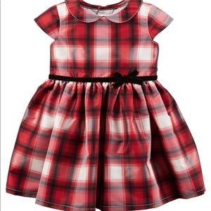 Carters red plaid taffeta dress sz 12m $40 Holiday