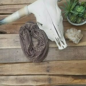 Charming Charlie Taupe & Gold Infinity Scarf