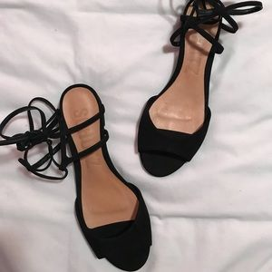 Black lace up low heel sandals