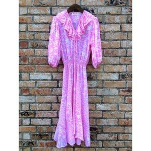Vintage 1980s pink polyester boho dress