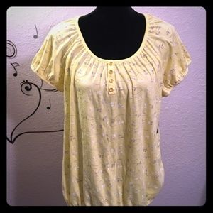 "Karen Scott ""Lemon Twist"" Embroidered Top - NWT"