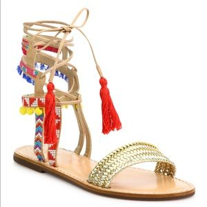 Embroidered Lace up Festival Sandals