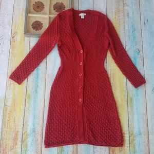 Worthington Red Knit Sweater Duster Cardigan XL