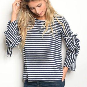 Tops - Fall Long Sleeve Woman's Shirt Stripes BLACK Med L