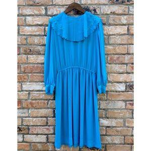 Vintage 1980s bright blue chiffon dress