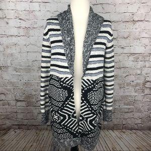 Ecote Cardigan Sweater Medium Aztec Ivory Black