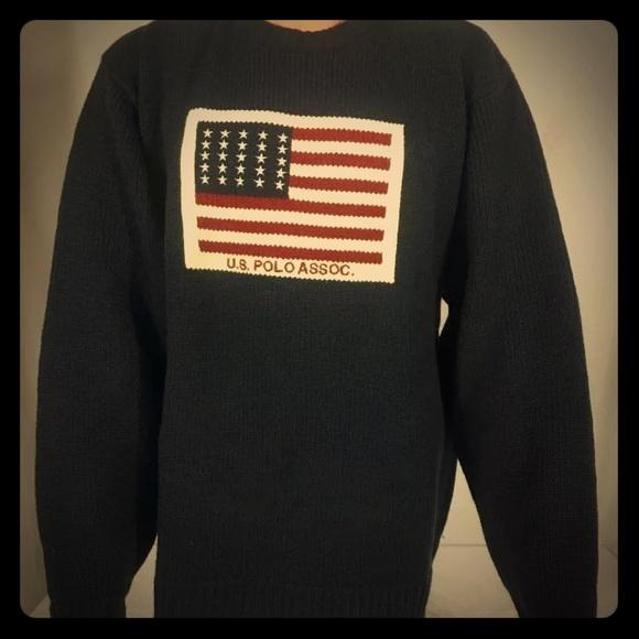 94a8798a U.S. Polo Assn. Sweaters   Vintage Mens Us Polo Association Flag ...