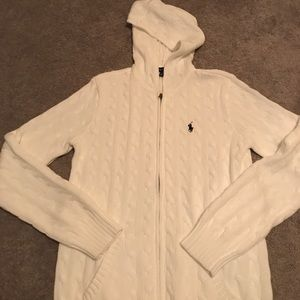 Ralph Lauren white cable hooded sweater