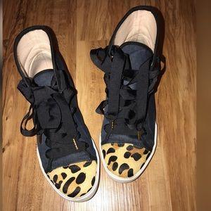 KS NY Linus denim/leopard dyed calf hair sneaker