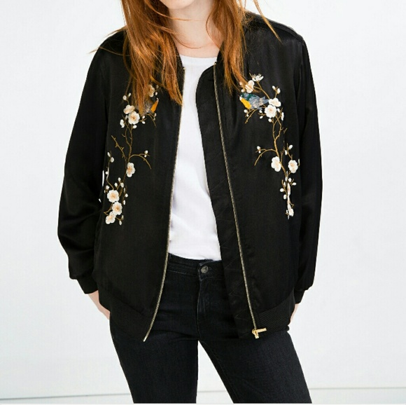 225f826f8 ZARA Floral Bird Embroidered Black Bomber Jacket