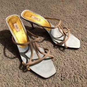 PRADA baby blue / gold open toe low heels s11 NWT