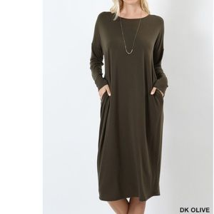 Dresses & Skirts - TSHIRT DRESS WITH POCKETS IN OLIVE