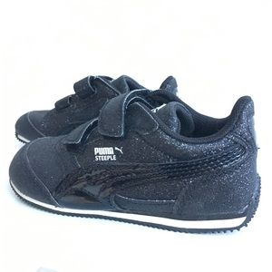 Puma Steeple Black Glitter Toddler Kids Sneakers