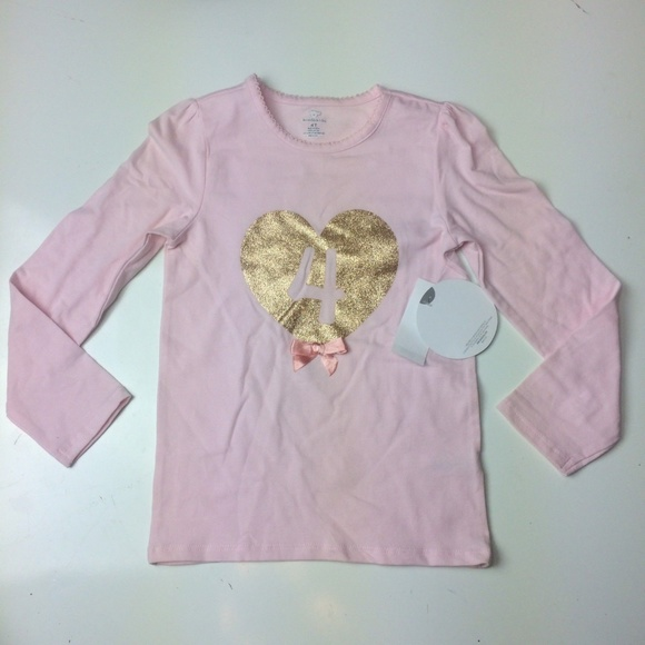 Girls 4th Birthday Shirt 4 Years Old Pink Gold