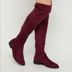 Shoes - Burgundy Over The Knee Boots | MAKE A OFFER