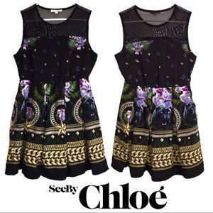 CCO💲⬇️ Chloe Printed Sleeveless Tulle Flare Dress