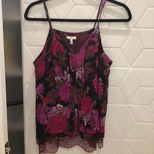 JOIE chiffon and lace top