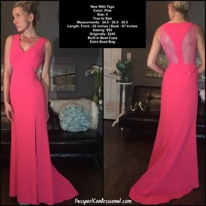 Pink Coral Razor Back Dress with Lace Back