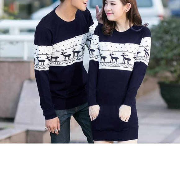 Christmas Sweaters For Couples.Matching Couples Christmas Sweaters