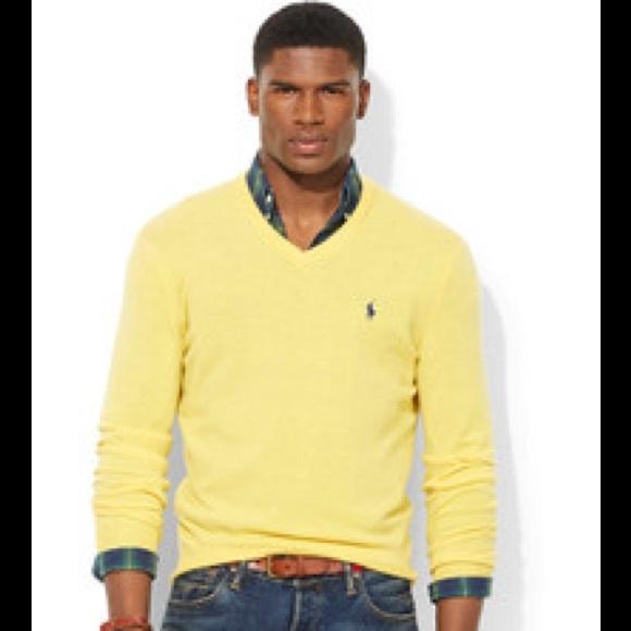 Men\u2019s Ralph Lauren Yellow Lambswool V,Neck Sweater