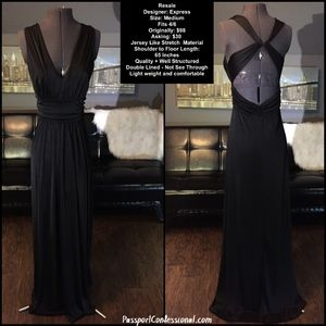 Express Floor Length Black Dress with Open Back