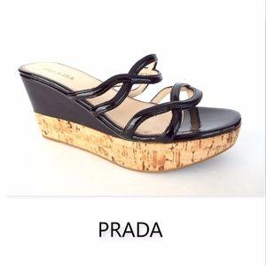 PRADA Size 36.5 Black Patent Platform Slide Sandal