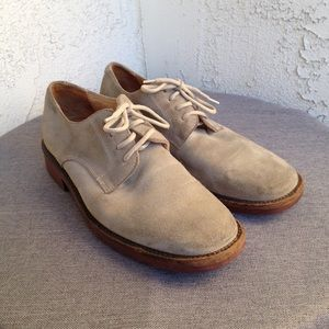 J. Crew Beige Suede Leather Mens Oxfords Shoes 7.5