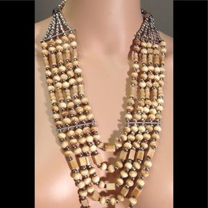 Jewelry - Wood MultiStrand Necklace Silver Beads & Bars