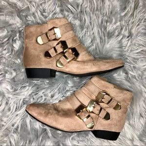 Tan Faux Suede Ankle Boots With Buckles