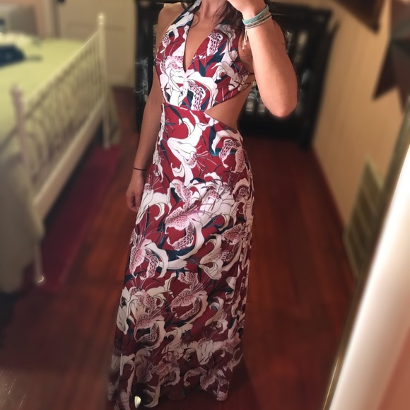 Fame & Partners Dresses - FAME & PARTNERS RED FLORAL MAXI DRESS