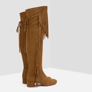 Zara Leather Suede Knee High Fringe Boots US 10
