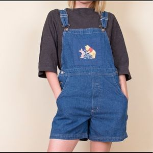 Vintage 90s Winnie the Pooh shortalls overalls