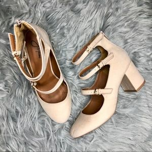 Triple Strap Faux Suede Mary Jane Heels