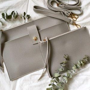 NWT Gray Vegan Leather Crossbody Bag