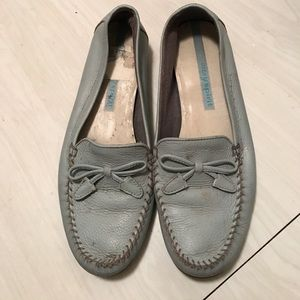 Baby blue leather loafers