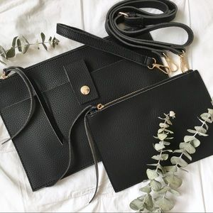NWT Black Vegan Leather Crossbody Bag