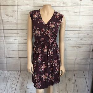 [Modcloth] Mauve Floral Jersey Knit Dress NWOT