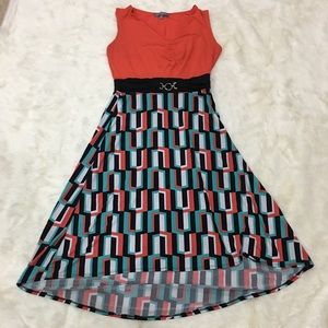 Dresses & Skirts - NY collection dress orange/teal/black pattern