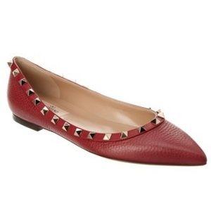 NEW Valentino Rockstud Ballerina Flat in Dark red