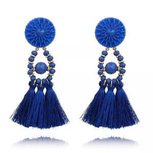 Trendy Royal Blue Tassel Button Earrings