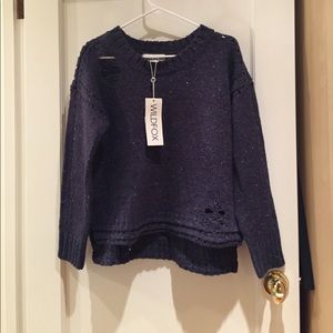 Wildfox distressed oversized navy blue sweater